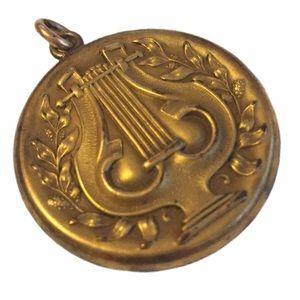 Antique Victorian Lyre Gold-Tone Circle Locket